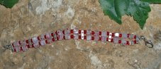 Dainty Red and White Square Bead Bracelet is 7 Inches in Length