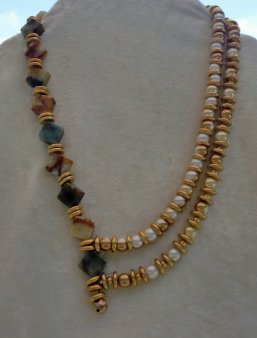 Multicolored Agate Squares and Glass Pearls Necklace