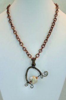 Agate Stone and Copper Chain Necklace