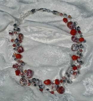 Hand Crocheted Necklace with Agate Stones and Angelic Crystals