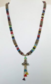 Glass Tulip Beads and Ornate Bell Necklace