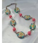 Bright and Vibrant Polymer Clay Flower Bead Necklace