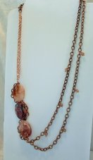 Copper and Agate Stone Asymmetrical Necklace