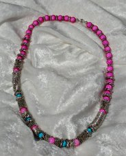 Magical Hot Pink Turquoise Miracle Beads Necklace