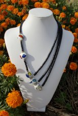 Hand Painted Ceramic Beads and Black Coco Necklace