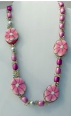 Pink Glass Beads Pink Flowers Focal Pieces 24 Inch Length