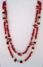 Red Coral Silver Beads Stately 24 Inch Necklace