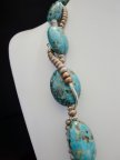 Turquoise Mosaic Magnesite Pearls Silver Plated 24 Inch Necklace