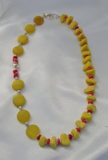 Dyed Yellow Jade and Glass Asymmetrical Necklace